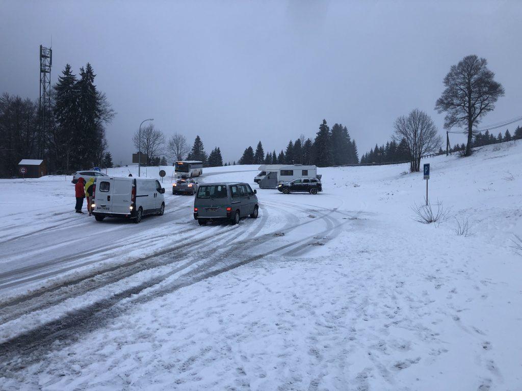 Snowed car park